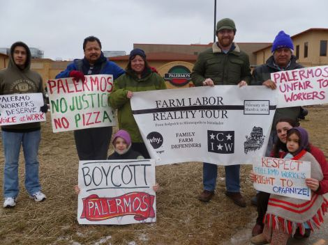 Bob St. Peter (second from left) and his family joined striking Palermo's Pizza workers on a picket line in Milwaukee in the first week of the Farm Labor Reality Tour.
