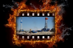 film of fracking, being burned