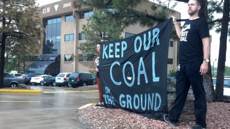 Activists call on Secretary Jewell to Keep Our Coal in the Ground at the Colorado State BLM office, May 29, 2013