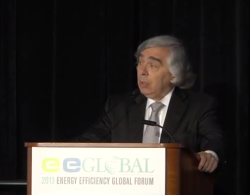 Ernest Moniz addressing an energy efficiency conference, several hours after he was worn in as Energy Secretary.