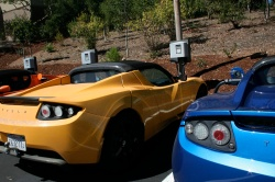 Tesla roadsters charging at the company's Palo Alto headquarters.