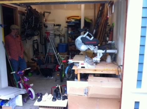 Woodshop in garage.