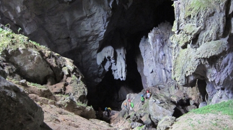 Carolin's team ventures into a cave.