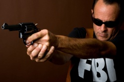 FBI agent with gun