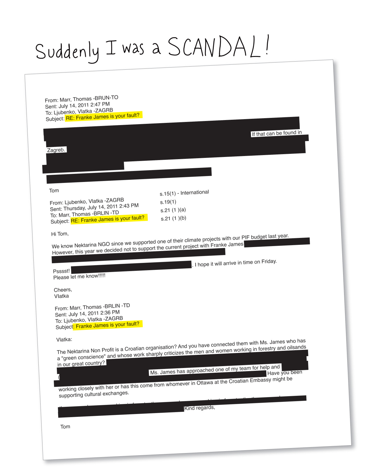 """A page from """"Banned on the Hill"""" with one of the emails James received. Click to embiggen."""
