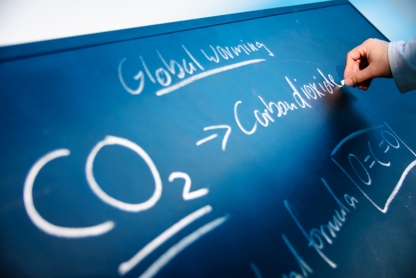 global warming on chalkboard