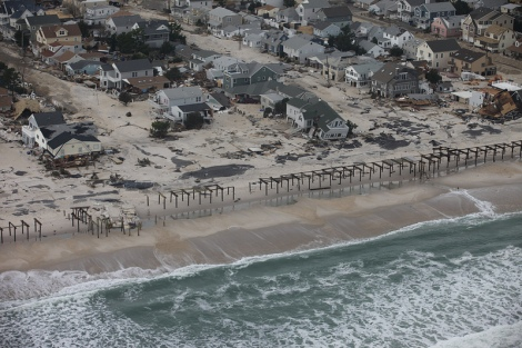 Damaged homes along New Jersey shore after Hurricane Sandy.