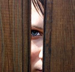 Creepy face staring through fence.