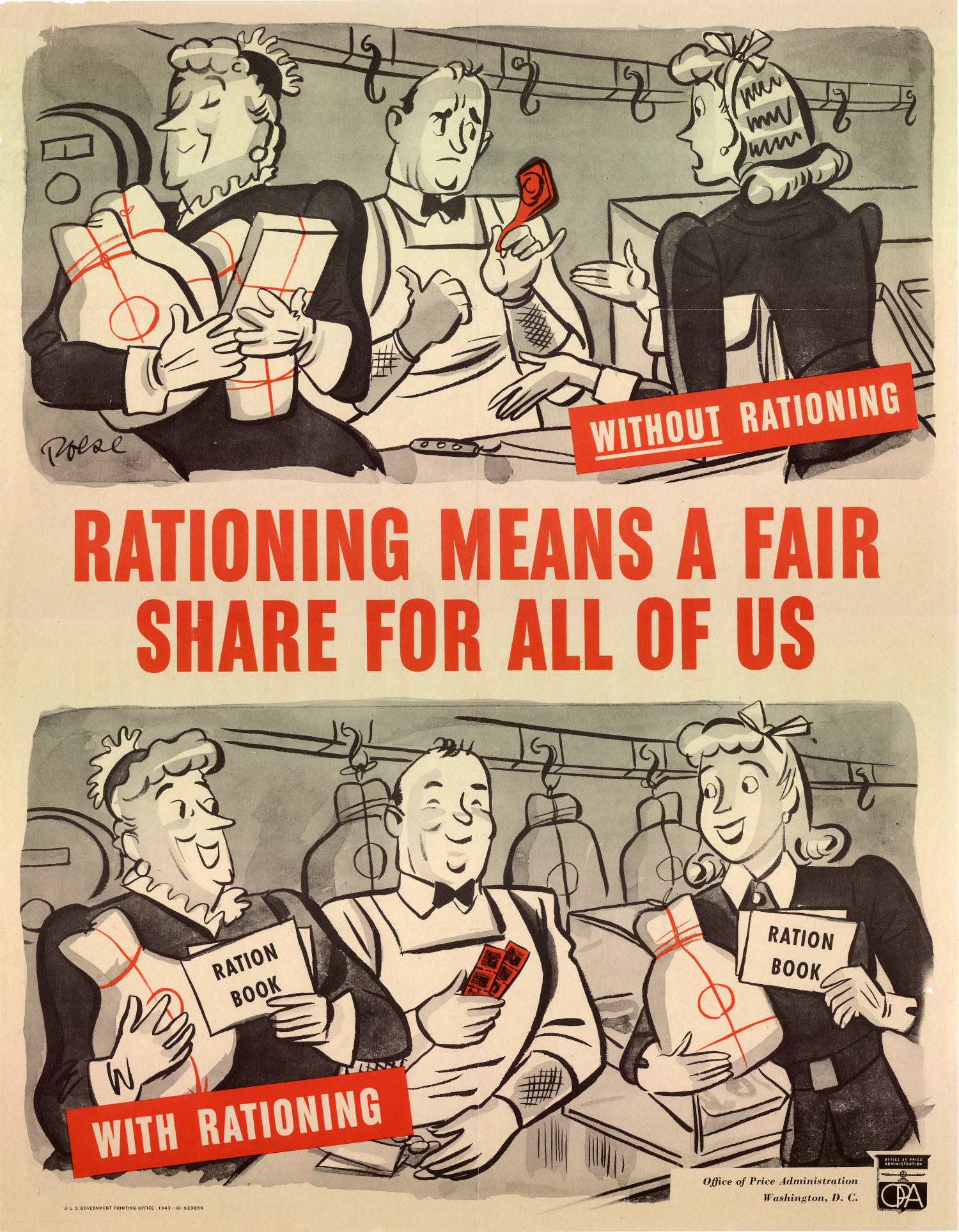 """poster: """"rationing means a fair share for all of us"""""""