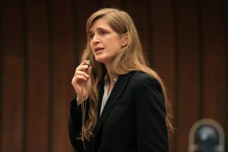 Samantha Power speaking in Geneva in 2009.