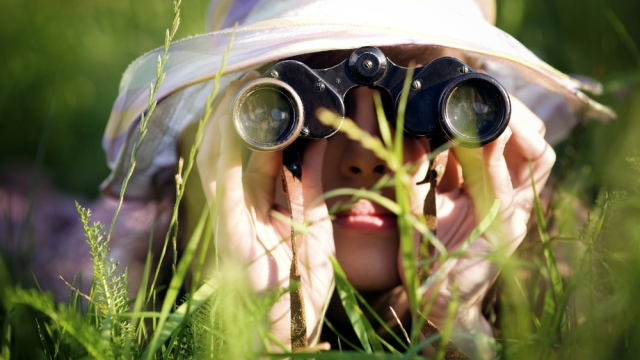 woman hat spying grass