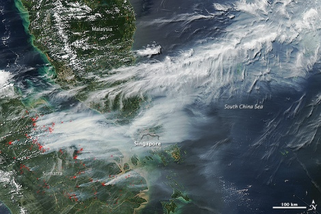 Smoke from Sumatra fires