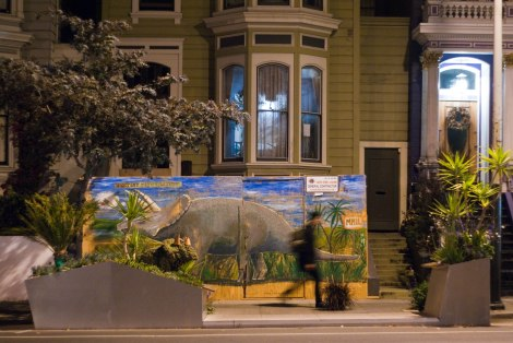 Residential parklet in San Francisco's Mission District, complete with dino topiary.