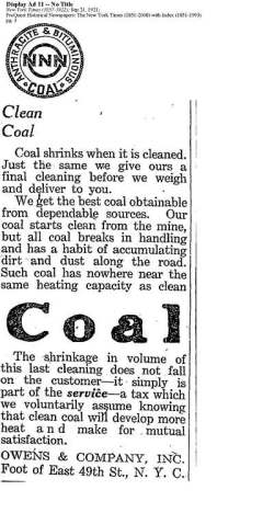 """Although its meaning has shifted, the coal industry has touted """"clean coal"""" since at least 1921. Check out more examples of misleading coal ads at http://quitcoal.org/coalads"""
