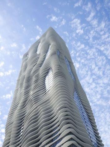 Gang's Aqua tower mimics ripples on water.