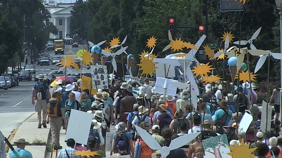 a crowd of protesters