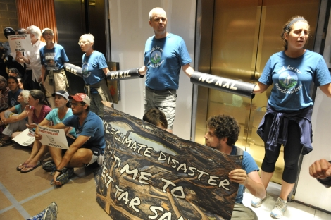 protesters chained in hallway