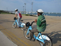 Pedaling Divvy bikes on the lakefront