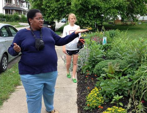 """Elle Adams, founder of City Rising Farm in Cleveland's Hough neighborhood, says: """"The people -- those flowers are the ones that are amazing."""""""