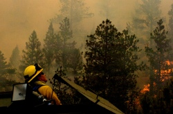 A firefighter at the scene of Colorado's High Park fire in 2012.