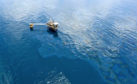 An oil slick in the Gulf of Mexico