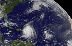 NASA Satellite Captures Hurricane Danielle, Hurricane Earl and Developing Tropical Depression 8, 2010