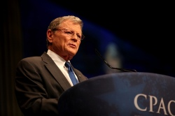 "Inhofe speaking at CPAC 2012. The senator has repeatedly dismissed climate change as a ""hoax"" or ""hysteria,"" and cited the benefits of global warming for the economy and the environment."