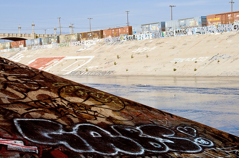 Graffiti lines the banks of the LA River near downtown in 2008 along the same stretch of the river that was used in the car race scene in the movie Grease.