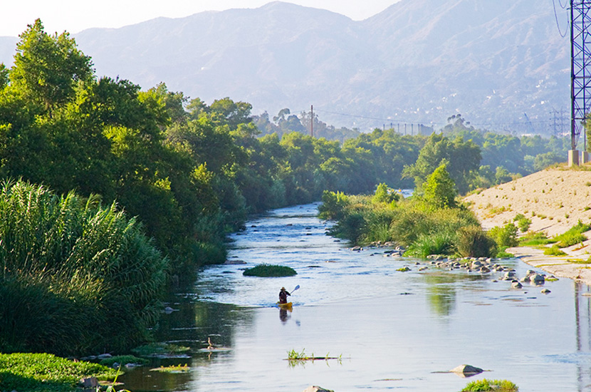 A Kayaker paddles down the Glendale Narrows Stretch of the LA river. Revitalization efforts are being undertaken to restore the river to its natural state and a recent pilot program has made a section of the river available for kayaking and other recreational use for the first time in 80 years.