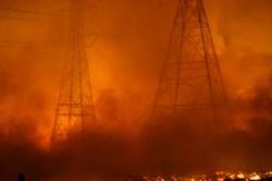 Fire near power lines