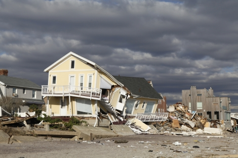 Destroyed beach house in the aftermath of Hurricane Sandy on November 4, 2012 in Far Rockaway, NY