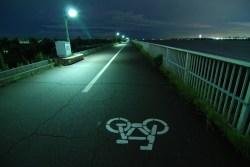 night bicycle bike lane