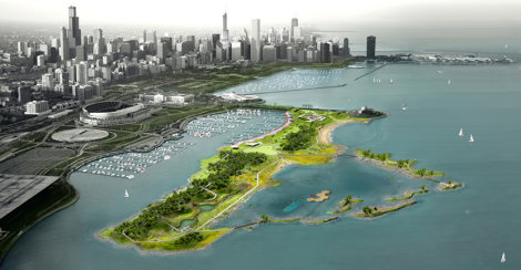 Gang's plan for Northerly Island, a human-made peninsula in Lake Michigan