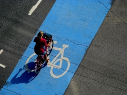 Many of Copenhagen's bike tracks are painted blue where they cross intersections, sending a clear message to drivers to stay out.