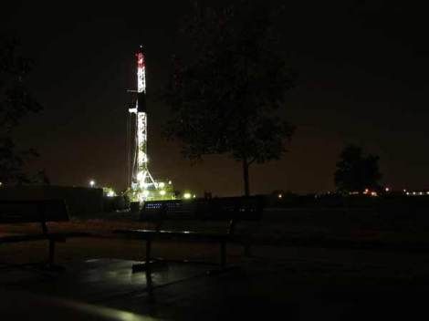 View from the picnic pavilion: nights are flooded with light since the drilling began.