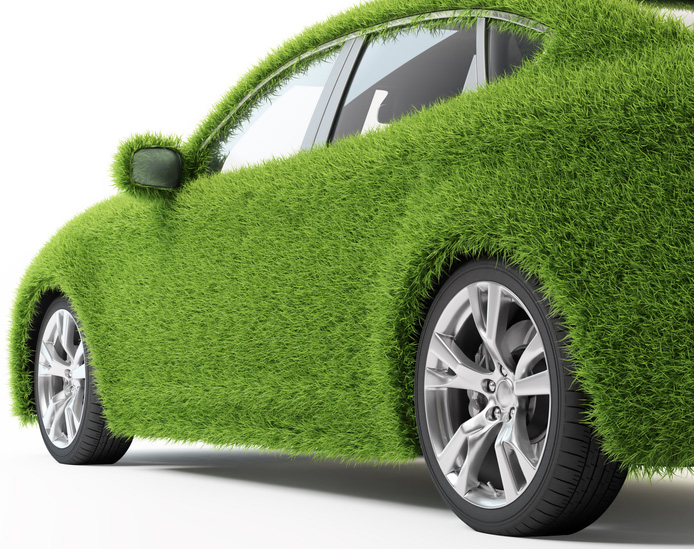 green-colored car