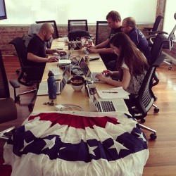 Code for America fellows at the hackathon where they made Streetmix.