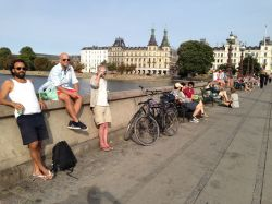 """A summer evening on the """"hipster bridge,"""" which carries 40,000 bikes each day."""