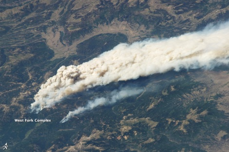 The West Fork Complex fire seen from the International Space Station.
