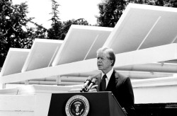 Jimmy Carter with the original White House solar panels.