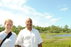 Kirsten Howard and Tancred Miller at the living shorelines project at Pine Knoll Shores, N.C.