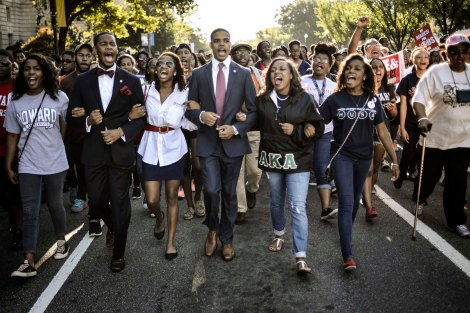 Students of Howard University march from campus to Lincoln Memorial to participate in Realize the Dream Rally for anniversary of March in Washington