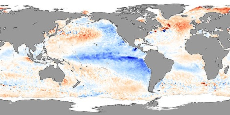 The Pacific Ocean showing La Niña-like conditions in 2007, featuring cooler tropical surface waters.