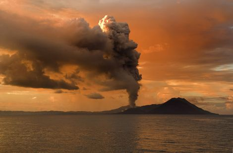The eruption of the volcano Tavurvur in Papua New Guinea in 2009. Small tropical volcanic eruptions are probably one factor behind the recent global warming slowdown.