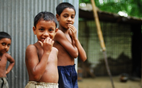 Children in Bangladesh, one of the most climate-vulnerable countries.