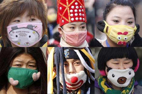 People wearing face masks are seen in this combination picture during the week-long Chinese New Year holiday in Beijing February 9 and 15, 2013.