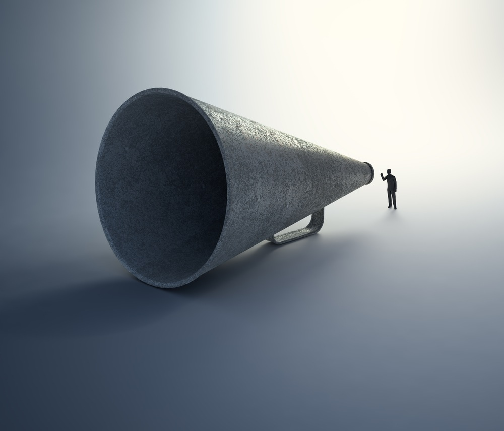 tiny man, huge megaphone