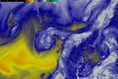 Satellite imagery showing tropical moisture being pulled from the coast of Mexico up to Colorado.