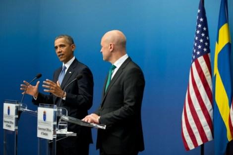 President Barack Obama and Swedish Prime Minister Fredrik Reinfeldt participate in a joint press conference at Rosenbad in Stockholm, Sweden, Sept. 4, 2013.