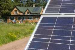 Solar panels outside a Wisconsin home.